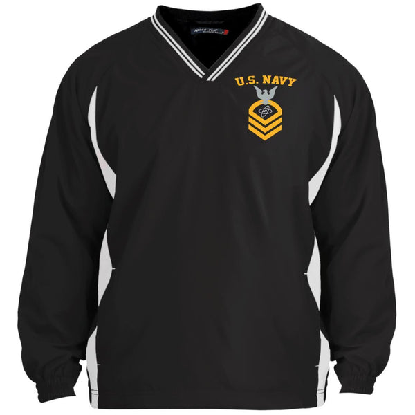 US Navy Electronics Technician ET E-7 Rating Badges Embroidered Sport-Tek Tipped V-Neck Windshirt