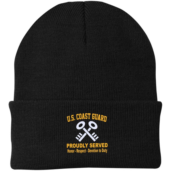 US Coast Guard Storekeeper SK Logo Embroidered Port Authority Knit Cap