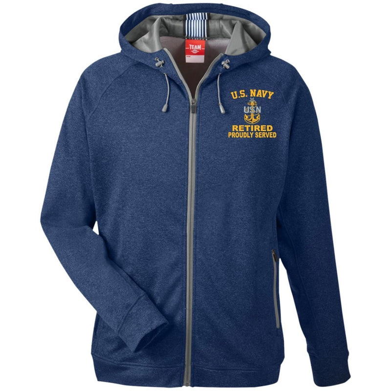 US Navy E-8 Senior Chief Petty Officer E8 SCPO Senior Retired Collar Device TT38 Team 365 Men's Heathered Performance Hooded Jacket