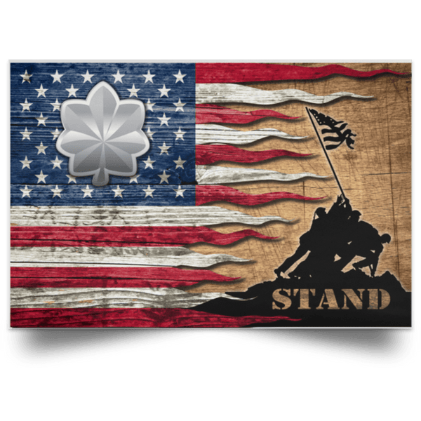 US Army O-5 Lieutenant Colonel O5 LTC Field Officer Stand For The Flag Satin Landscape Poster