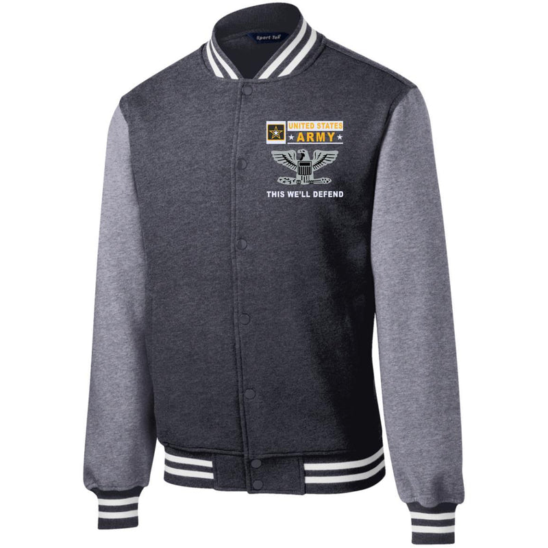 US Army O-6 Colonel O6 COL Field Officer- This we'll defend Men/Women Sport-Tek® Fleece Letterman Jacket