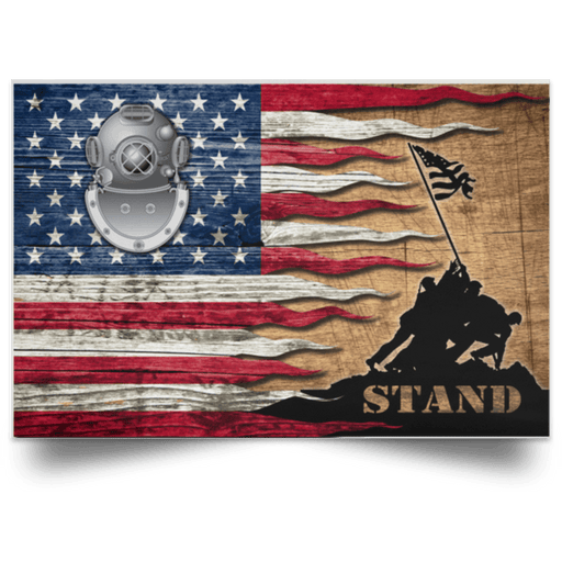 US Coast Guard Diver ND Logo Stand For The Flag Satin Landscape Poster