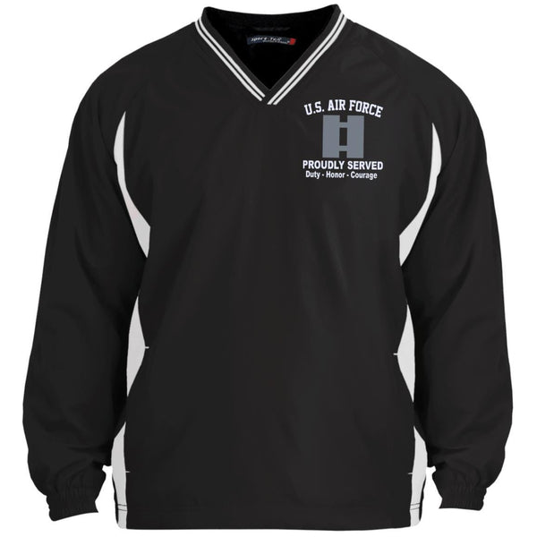 US Air Force O-3 Captain Capt O3 Commissioned Officer Proudly Served Embroidered Sport-Tek Tipped V-Neck Windshirt