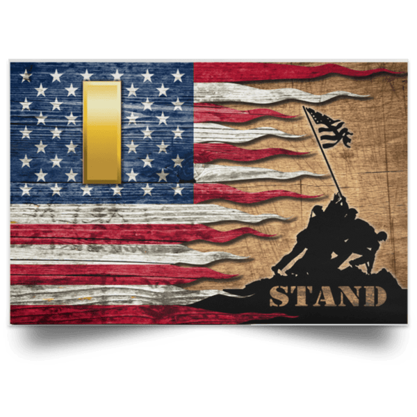 US Army O-1 Second Lieutenant O1 2LT Commissioned Officer Stand For The Flag Satin Landscape Poster