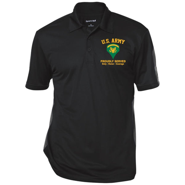 US Army E-5 SPC E5 Specialist Ranks Performance Embroidered Polo Shirt