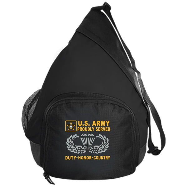 US Army Jump Wings - Parachutist Badge - Proudly Served-D04 Embroidered Active Sling Pack