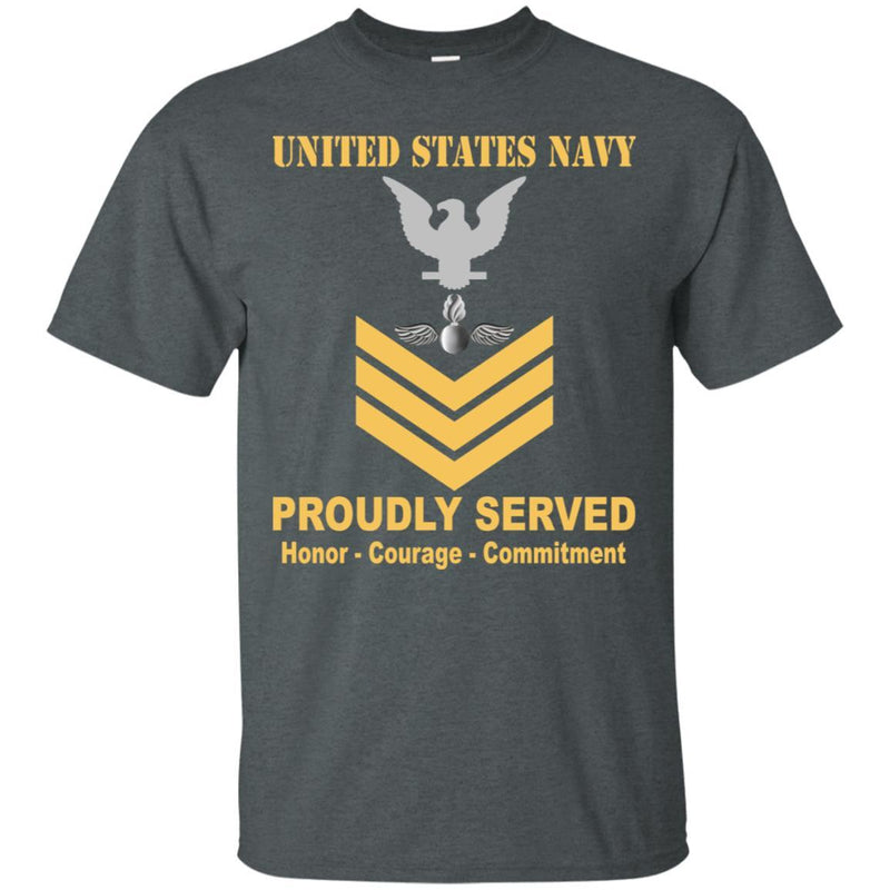 Navy Aviation Ordnanceman Navy AO E-6 Rating Badges Proudly Served T-Shirt For Men On Front