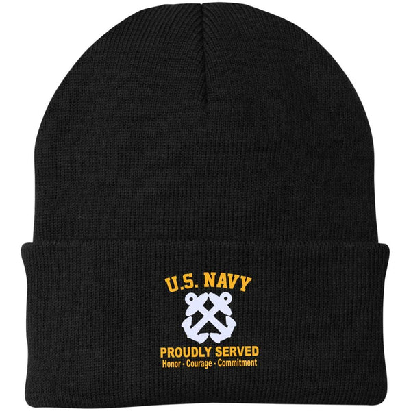 US Navy Boatswains Mate BM Logo Embroidered Port Authority Knit Cap