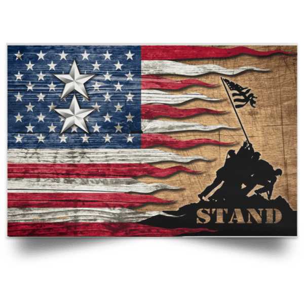 US Army O-8 Major General O8 MG General Officer Stand For The Flag Satin Landscape Poster
