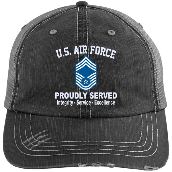 US Air Force E-9 Chief Master Sergeant CMSgt E9 Noncommissioned Officer Core Values Embroidered Distressed Unstructured Trucker Cap