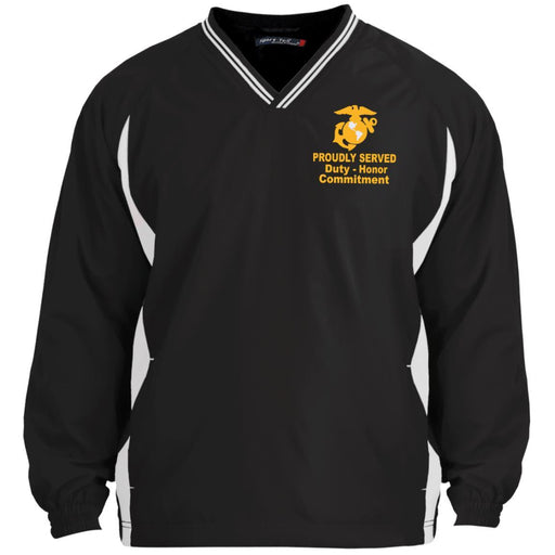 US Marine Corps Logo Proudly Served Core Values Embroidered Sport-Tek Tipped V-Neck Windshirt