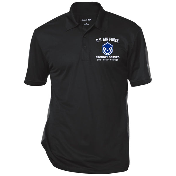 US AIR FORCE E-7 MASTER SERGEANT MSGT E7 NONCOMMISSIONED OFFICER RANKS Embroidered Performance Polo Shirt