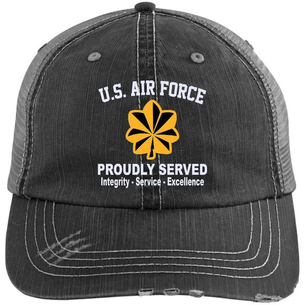 US Air Force O-4 Major Maj O4 Field Officer Core Values Embroidered Distressed Unstructured Trucker Cap