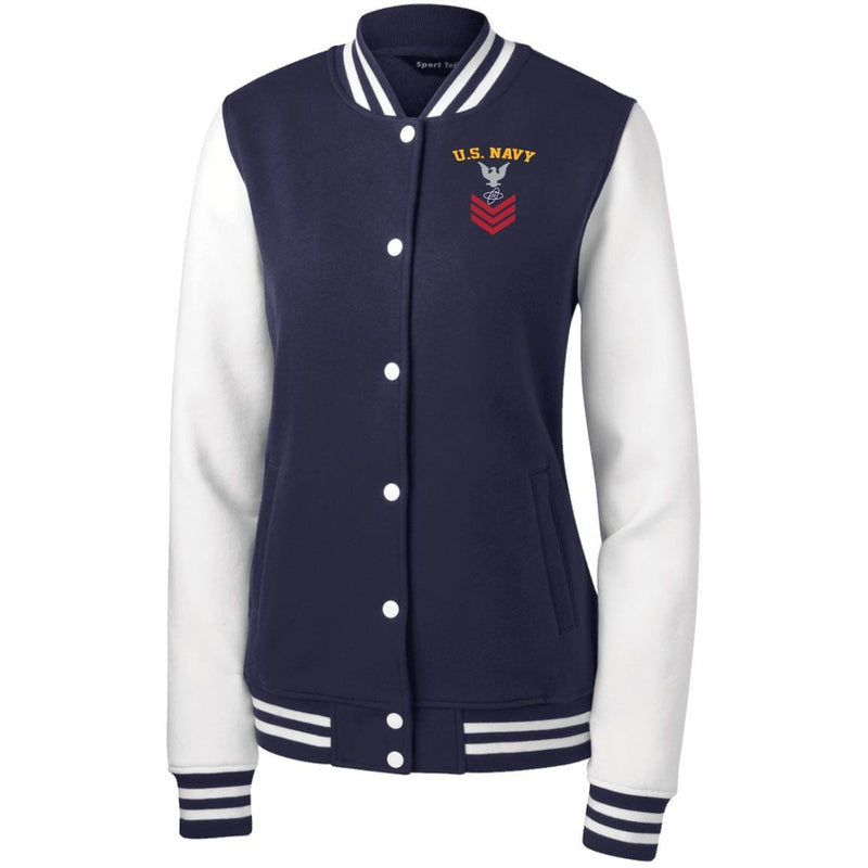 US Navy Electronics Technician ET E-6 Rating Badges Embroidered Sport-Tek Women's Fleece Letterman Jacket