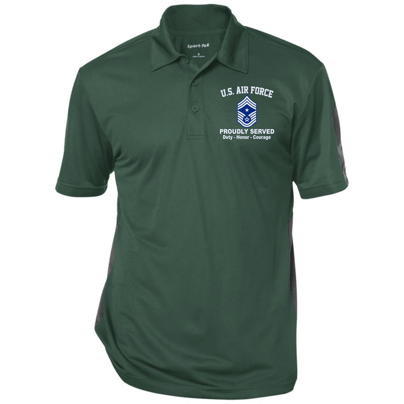 US AIR FORCE E-9 COMMAND CHIEF MASTER SERGEANT CCM E9 NONCOMMISSIONED OFFICER RANKS Embroidered Performance Polo Shirt