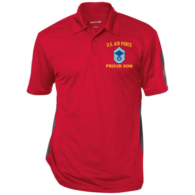 US Air Force E-8 Senior Master Sergeant SMSgt Proud Son Embroidered Polo Shirt