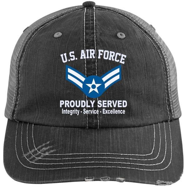 US Air Force E-3 Airman First Class A1C E3 Enlisted Airman Core Values Embroidered Distressed Unstructured Trucker Cap