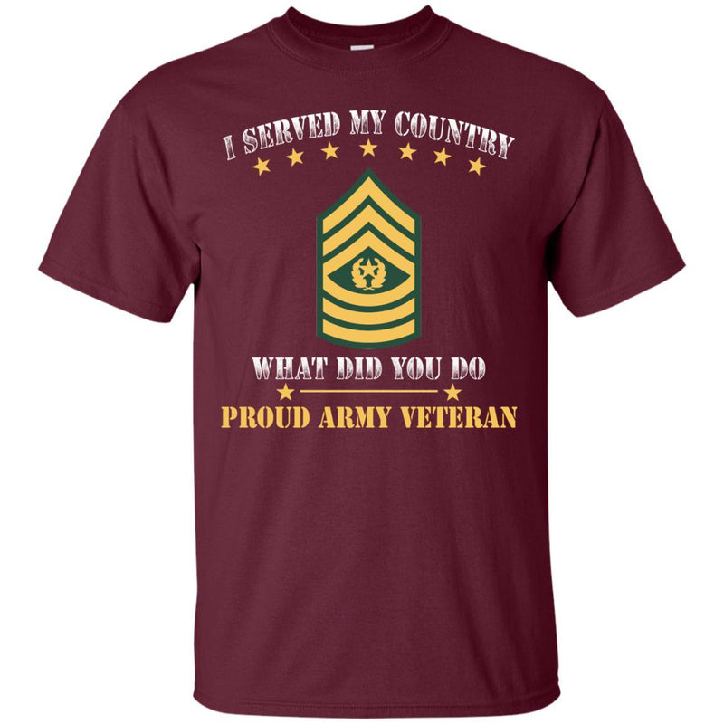 US Army E-9 Command Sergeant Major E9 CSM Noncommissioned Officer Ranks Men Front T Shirt - Proud US Army Veteran