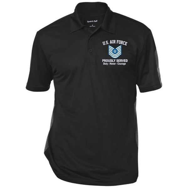 US Air Force E-7 Master Sergeant MSgt E7 Old Style Proudly Served Embroidered Performance Polo Shirt