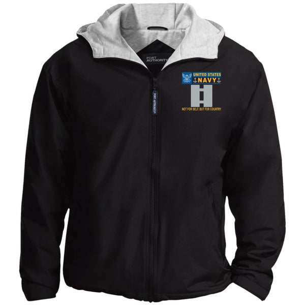 US Navy O-3 Lieutenant O3 LT Junior Officer Not For Self But For Country Embroidered - Fleece Lined Hooded  Team Jacket