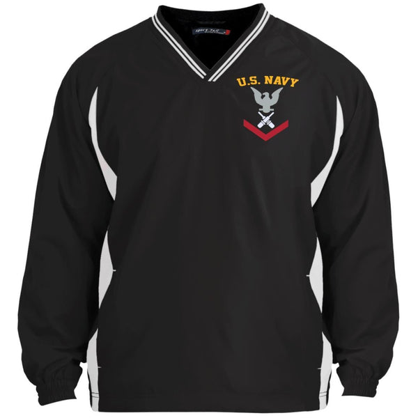 US Navy Gunner's Mate GM E-4 Rating Badges Embroidered Sport-Tek Tipped V-Neck Windshirt