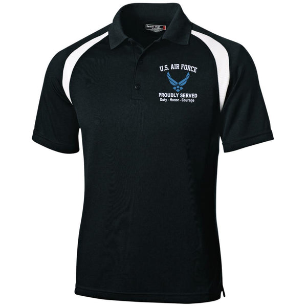 US Air Force Logo Proudly Served Embroidered Sport-Tek Moisture-Wicking Tag-Free Golf Shirt