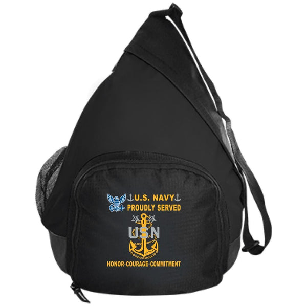 US Navy E-9 Master Chief Petty Officer E9 MCPO Senior Noncommissioned Officer Collar Device Proudly Served-D04 Embroidered Active Sling Pack