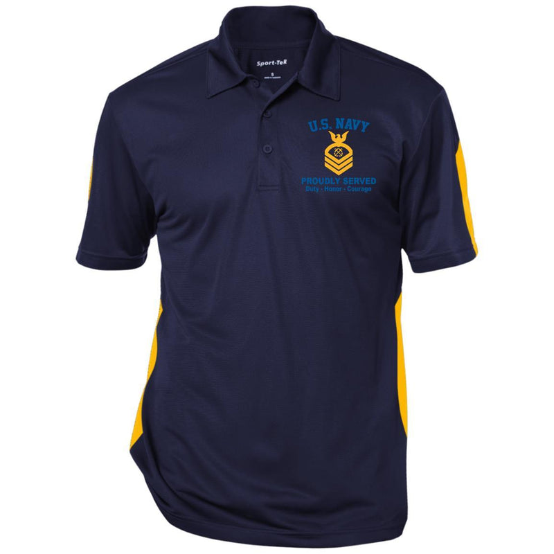 US Navy E-7 Chief Petty Officer E7 CPO Senior Noncommissioned Officer Ranks Embroidered Performance Polo Shirt
