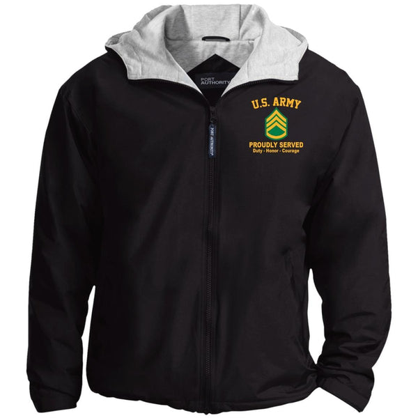 US Army E-6 Staff Sergeant E6 SSG Noncommissioned Officer Embroidered Port Authority® Hoodie Team Jacket