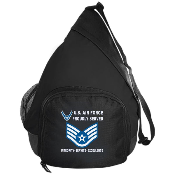 US Air Force E-5 Staff Sergeant SSgt E5 Noncommissioned Officer Proudly Served-D04 Embroidered Active Sling Pack