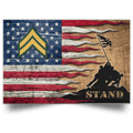 US Army E-4 Corporal E4 CPL Noncommissioned Officer Stand For The Flag Satin Landscape Poster
