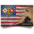 US Army Signal Corps Stand For The Flag Satin Landscape Poster