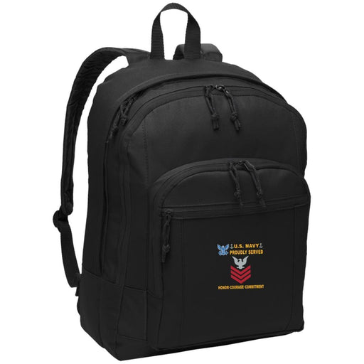US Navy E-6 Petty Officer First Class E6 PO1 Collar Device Proudly Served-D04 Embroidered Backpack