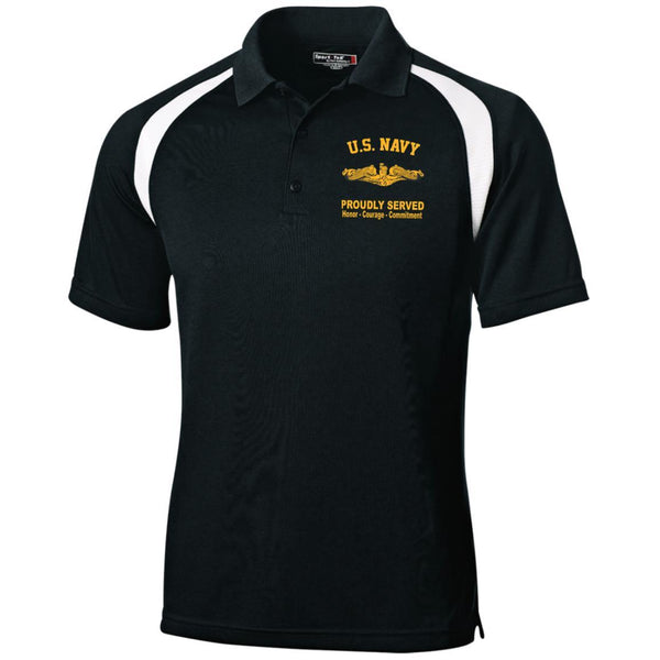 US Navy Submarine Officer Proudly Served Embroidered Sport-Tek Moisture-Wicking Tag-Free Golf Shirt