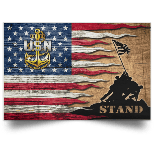 US Navy E-7 Chief Petty Officer E7 CPO Senior Noncommissioned Officer Collar Device Stand For The Flag Satin Landscape Poster
