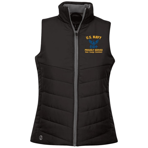 US Navy Logo Proudly Served Embroidered Holloway Ladies' Quilted Vest