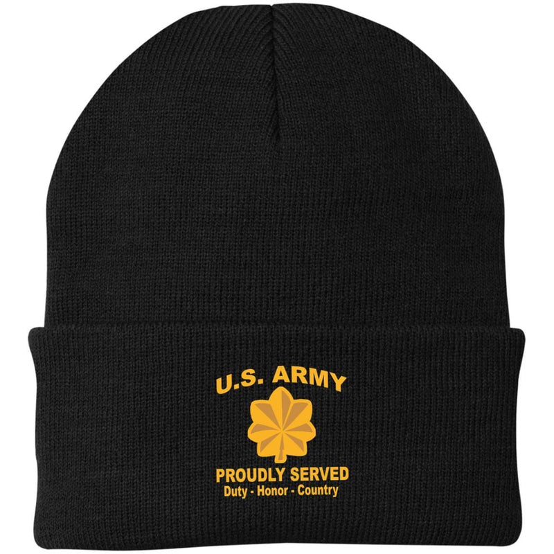 US Army O-4 Major O4 MAJ Field Officer Proudly Served Military Mottos Embroidered Port Authority Knit Cap