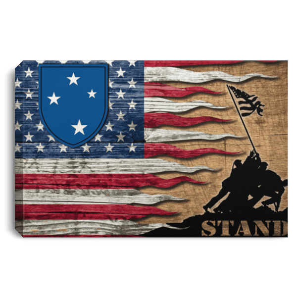 US ARMY 23rd Infantry Division Stand For The Flag Landscape Canvas .75in Frame