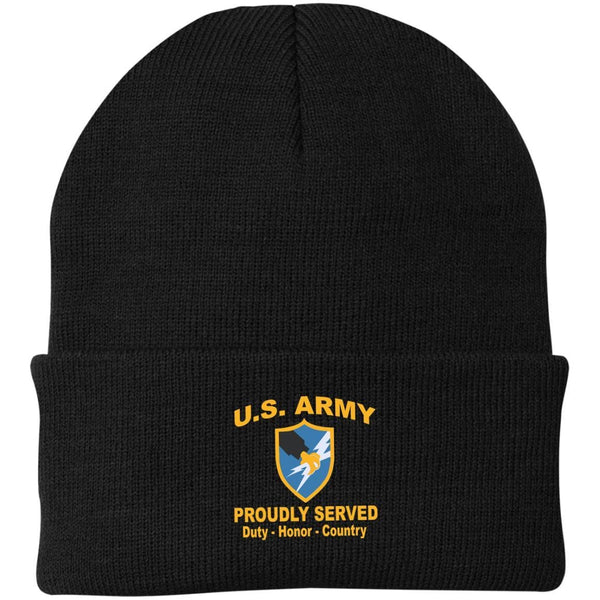 US Army Security Agency Proudly Served Military Mottos Embroidered Port Authority Knit Cap
