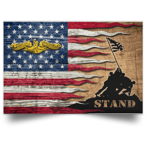 US Navy Submarine Officer Stand For The Flag Satin Landscape Poster