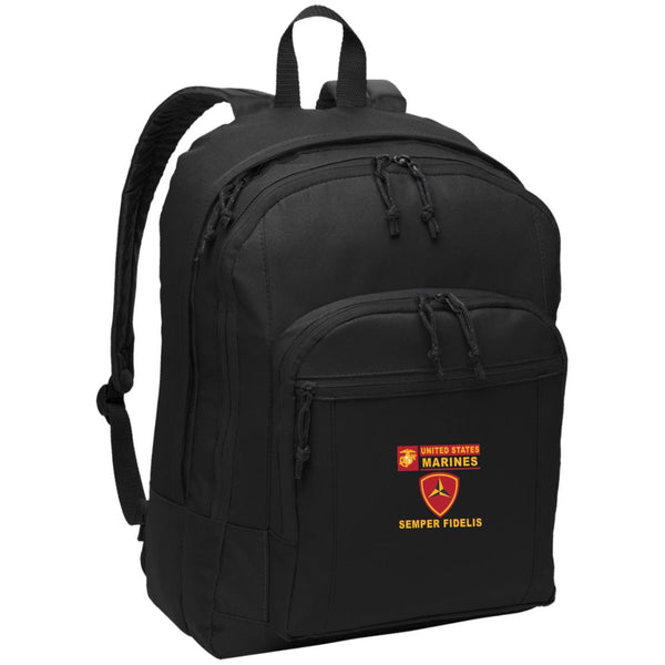 US Marine Corps 3rd Division- Semper Fidelis Embroidered Backpack