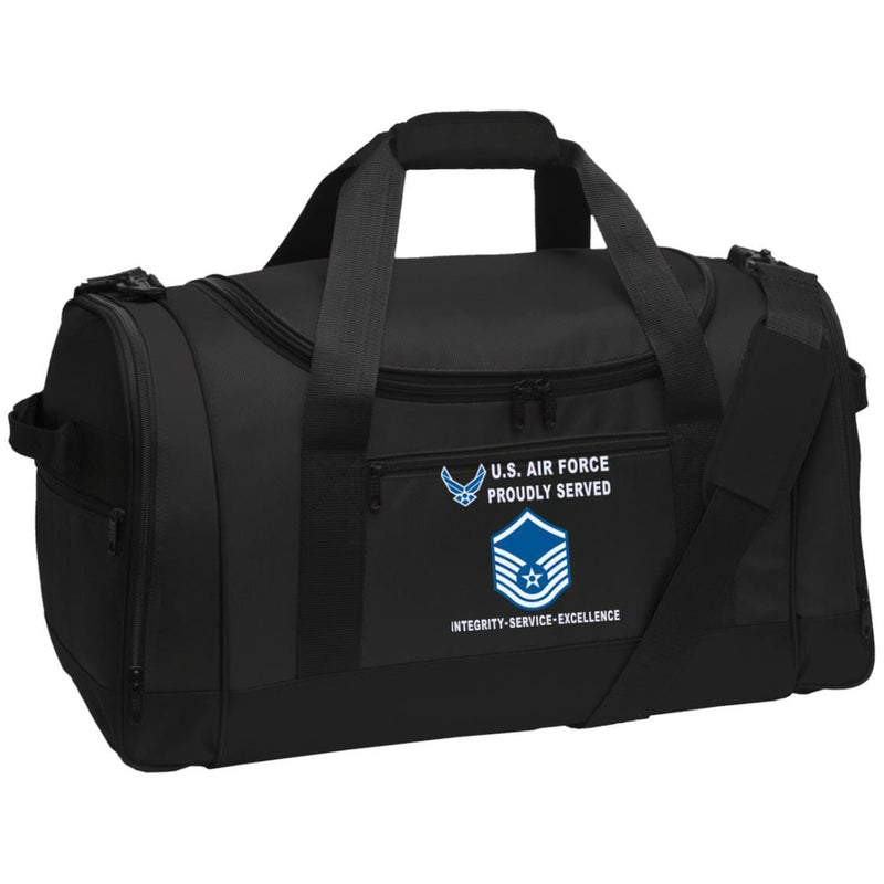 US Air Force E-7 Master Sergeant MSgt E7 Noncommissioned Officer Proudly Served-D04 Embroidered Duffel Bag