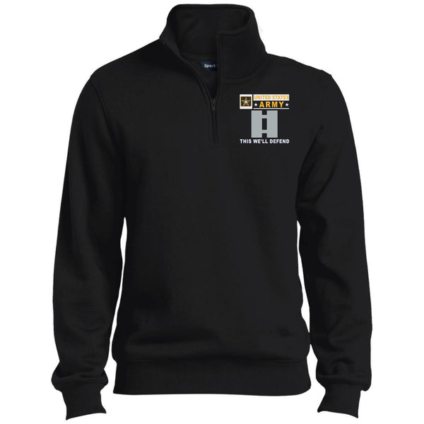 US Army O-3 Captain O3 CPT Commissioned Officer- This we'll defend Embroidered 1/4 Zip Pullover