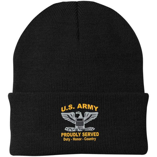 US Army O-6 Colonel O6 COL Field Officer Proudly Served Military Mottos Embroidered Port Authority Knit Cap