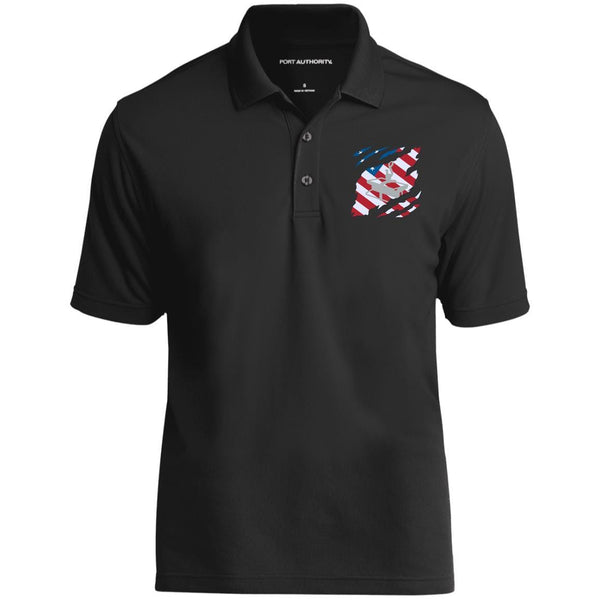 US Navy Steelworker SW And American Flag At Heart Embroidered Polo Shirt
