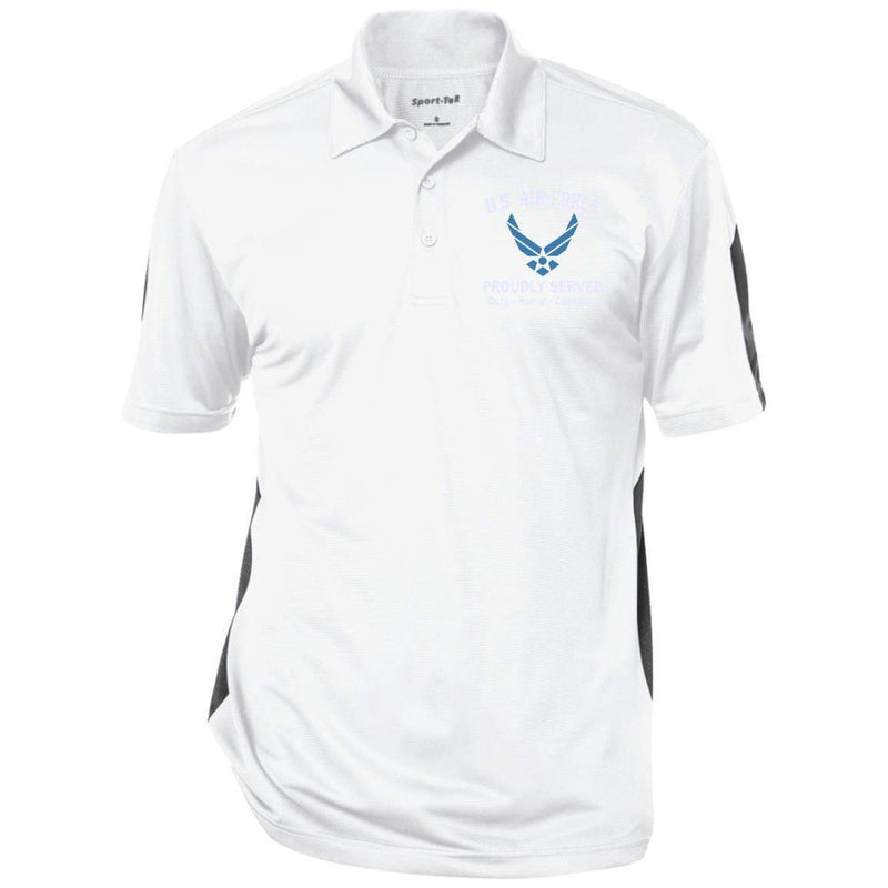 US Air Force Logo Proudly Served Embroidered Performance Polo Shirt