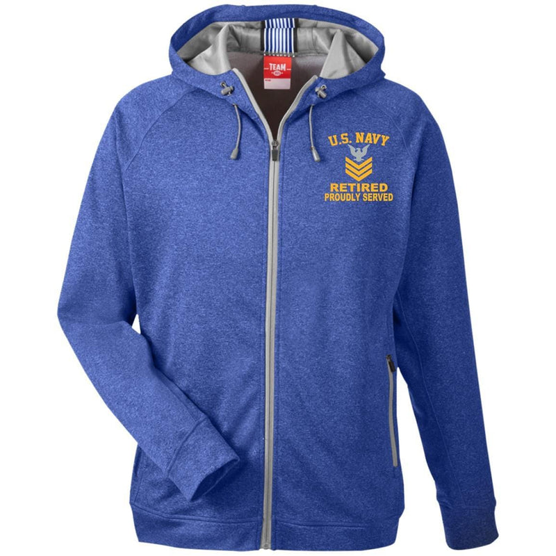 US Navy E-6 Petty Officer First Class E6 PO1 Retired Gold Stripe Collar Device TT38 Team 365 Men's Heathered Performance Hooded Jacket