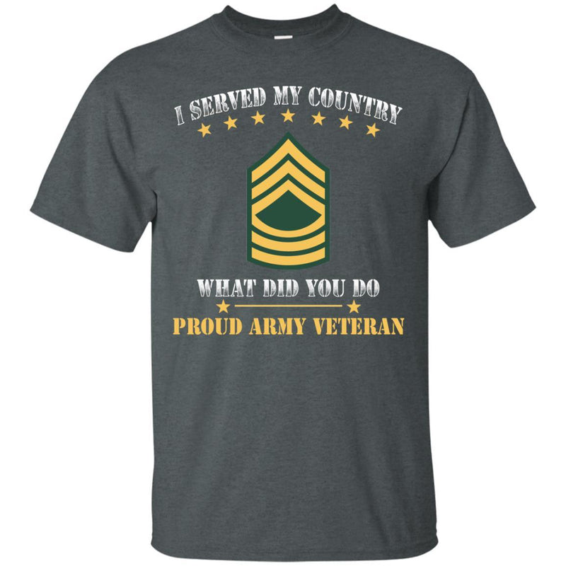 US Army E-8 Master Sergeant E8 MSG Noncommissioned Officer Ranks Men Front T Shirt - Proud US Army Veteran