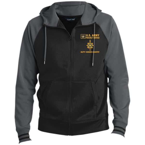 US Army Intelligence Corps - Proudly Served-D04 Embroidered Sport-Tek® Full-Zip Hooded Jacket