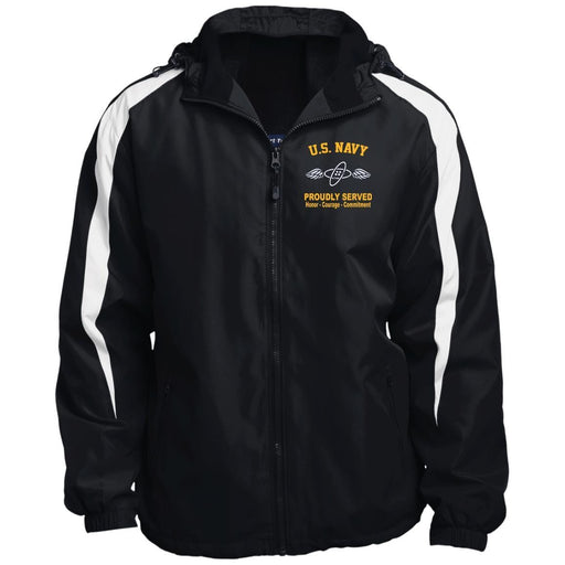 US Navy Aviation Electronics Technician AT Logo JST81 Sport-Tek Fleece Lined Colorblocked Hooded Jacket